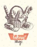 Draw vintage vector basket fresh bread bakery shop Royalty Free Stock Photo