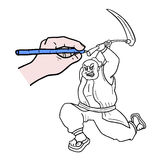 Draw warrior Stock Photography
