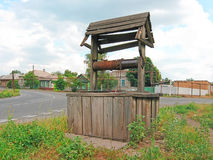 Draw well. Rural wooden groundwater well (photo royalty free stock photo
