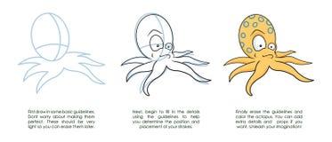 drawbläckfisk royaltyfri illustrationer