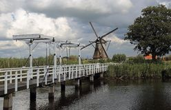 Drawbrdige in Kinderdijk in Holland Royalty Free Stock Photo
