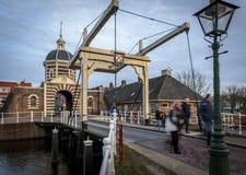 Drawbridge и Morspoort Лейден Голландия Стоковые Фото