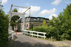 Drawbridge. And some houses in Huizum(Friesland Royalty Free Stock Photo
