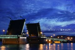 Drawbridge. Open drawbridge over Neva river in St. Petersburg at the late evening Stock Photography