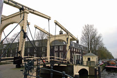 Drawbridge. Old-fashioned drawbridge in the Netherlands Stock Photography