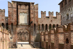Drawbridge access to main courtyard, Soncino Castle. View of the drawbridge that gives way to the northern inner court in the ancient Sforzesco Castle, shot in royalty free stock photos