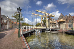 Drawbridge in Alkmaar, Holland. Historical drawbridge across a canal in Alkmaar, Holland Stock Image
