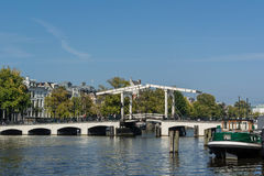 Drawbridge on the Amstel River in Amsterdam Royalty Free Stock Images