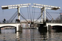 DrawBridge Of Amsterdam. Popular drawbridge in Amsterdam in the Netherlands Royalty Free Stock Photos