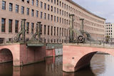 Drawbridge in Berlin. Old historical drawbridge with steel railing in the middle of Berlin Royalty Free Stock Image