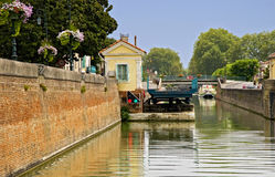 Drawbridge at Canal lateral. The Drawbridge at Canal lateral, Aquitaine, France Stock Photos