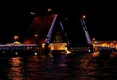 Drawbridge close up at night with illumination Saint Petersburg, Russia.  Royalty Free Stock Photography