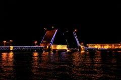 Drawbridge close up at night with illumination Saint Petersburg, Russia.  Stock Images