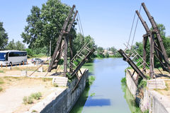 Drawbridge in country side near Arles Stock Images