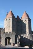 Drawbridge del castello di Carcassona Fotografie Stock Libere da Diritti