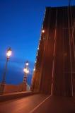 Drawbridge elevated. In evening St. Petersburg Stock Image
