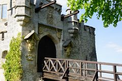 Drawbridge entrance of ancient castle stock photo