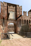 Drawbridge entrance to main courtyard, Soncino Castle. View of the drawbridge that gives way to the northern inner court in the ancient Sforzesco Castle, shot in stock photo