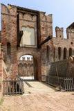 Drawbridge entrance to main courtyard, Soncino Castle Stock Photo