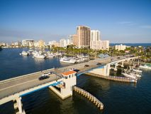 Drawbridge in Fort Lauderdale. Drawbridge at Las Olas blvd in Fort Lauderdale, Florida USA. Aerial view Royalty Free Stock Image