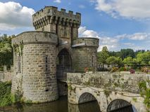 Drawbridge gates. Beautiful drawbridge gates of Chateau de la Clayette, Burgundy, France Stock Image