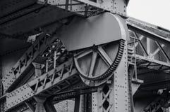 Drawbridge mechanism. In black and white Stock Photo