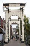 Drawbridge na prinseneiland w Amsterdam Fotografia Stock