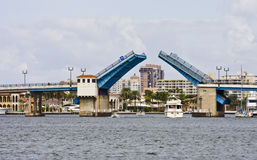 Drawbridge Open. A drawbridge open with boats passing beneath Stock Photography