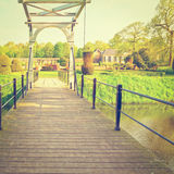 Drawbridge. Over Canal in the Park, Netherlands, Instagram Effect Stock Photography
