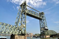 Drawbridge Railway bridge. Rotterdam railway drawbridge in Netherlands Stock Images