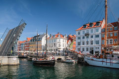 Drawbridge with sail boat in Nyhavn in Copenhagen Royalty Free Stock Photos