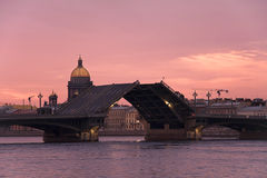 Drawbridge at Saint-Petersburg. Sunrise and Drawbridge at Saint-Petersburg, Russia Stock Photos