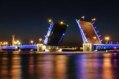 The drawbridge is in Saint Petersburg. Colorful light. Russian city Stock Photography