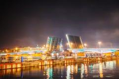 Drawbridge in Saint Petersburg, Russia. At night time Stock Photo