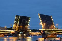 Drawbridge in Saint-Petersburg. Russia.Saint-Petersburg.During navigation in the city to raise the bridges for the passage of vessels Stock Image