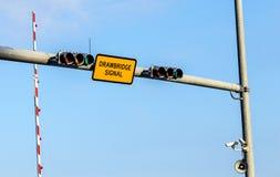 Drawbridge signal with traffic Stock Images
