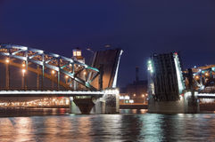 Drawbridge in St. Petersburg. Name of the bridge - Bolsheokhtinsky. Night photo Stock Image