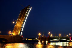 Drawbridge in St. Petersburg at night Stock Photos