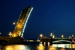 Drawbridge in St. Petersburg at night Royalty Free Stock Photo
