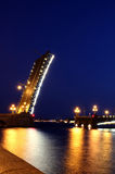 Drawbridge in St. Petersburg at night Royalty Free Stock Image