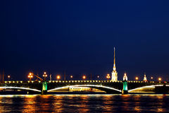 Drawbridge in St. Petersburg at night Stock Photo