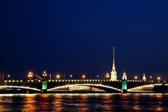 Drawbridge in St. Petersburg at night Stock Photo