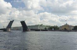 Drawbridge on St. Petersburg waterfront Royalty Free Stock Images