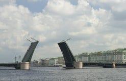 Drawbridge on St. Petersburg waterfront Royalty Free Stock Photo