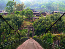 Drawbridge and village in China Stock Photography