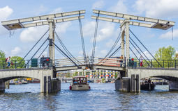 Drawbridge w Amsterdam, Netherands Zdjęcie Royalty Free