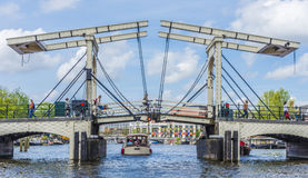Drawbridge w Amsterdam, Netherands Obrazy Royalty Free