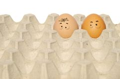 Drawed cartoon on the egg Stock Photos