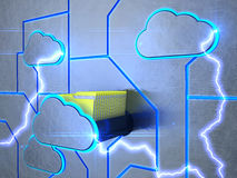 Drawer of cloud. A drawer in the form of a cloud with folders. 3d rendering Royalty Free Stock Image