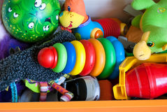 Drawer with different toys Royalty Free Stock Images